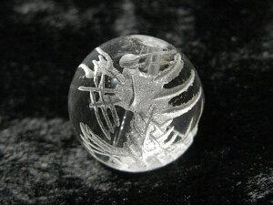 水晶 龍彫りクォーツ 【1粒販売】 白彫り 約10mm (天然石彫刻) パワーストーン ビーズ アクセサリーパーツ ハンドメイド DIY