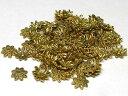 チベタン座金 アクセサリーパーツ シンプルフラワー 金古美 約10mm (約100個セット) ビーズキャップ
