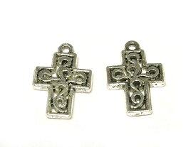 チャーム アクセサリーパーツ クロス 銀古美 約19×13mm (10個セット)dealb 十字架