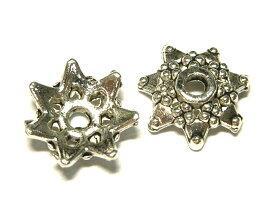 チベタン座金 スター 七角形 銀古美 約10mm (約100個セット) ビーズキャップ