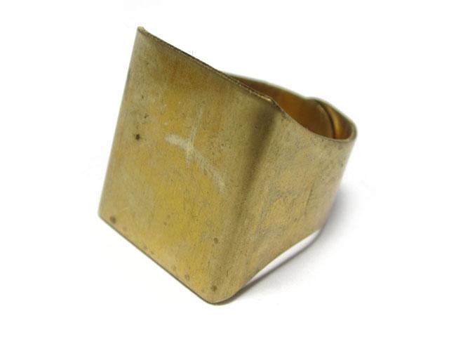 リング台座 真鍮 四角 指輪 ハンドメイドアクセサリーパーツ セッティング アンティーク調
