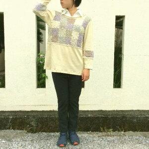 【セーター】ベージ系モチーフつなぎ丸首かぎ針セーター