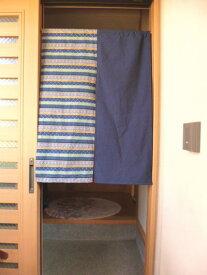 【手作り小物】【和柄ストライプ&大和紬】で作った暖簾(ロング丈)