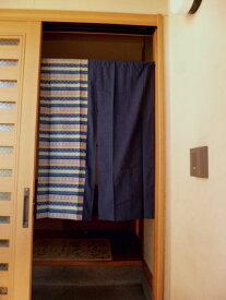 【手作り小物】和柄横縞と大和紬暖簾(ミドル丈)