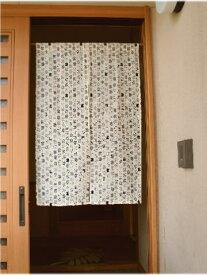 【手作り小物】和柄ネコ(生成り)カジュアル暖簾(ミドル丈)
