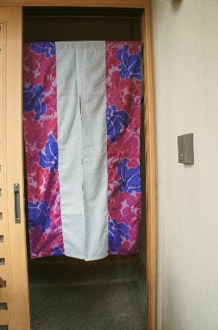 【手作り小物】古代ブドウ文古布暖簾(ロング丈)