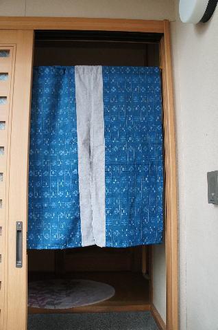 【手作り小物】古布使用!!井桁絣文暖簾(ミドル丈)