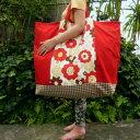 【お昼寝バッグ】特大サイズ】アートフラワー(赤)手作りお昼寝布団バッグ【入園準備】