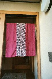 【手作り小物】ちりめん菱文古布暖簾(ミドル丈)
