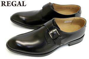 【送料無料】 REGAL リーガル 靴 メンズ ビジネスシューズ 813R 本革 モンクストラップ☆ ブラック 【smtb-tk】