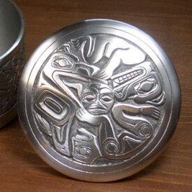 ネイティブ ギフトボックス カナダ 先住民 インディアン BOMA製 [ RAVEN SUN PEWTER BOX ] ワタリガラス+太陽 中  送料無料
