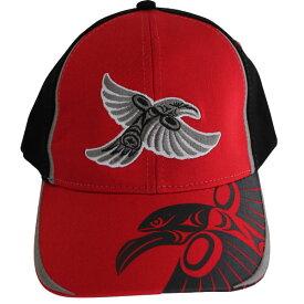 帽子 ストレッチフィット キャップ CAP カナダ 先住民 インディアン デザイナーズ 57-59cm Raven