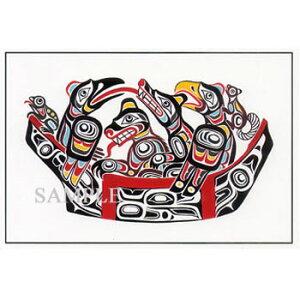 ネイティブ ポストカード アート イラスト デザイン カナダ 先住民 インディアン 雑貨 [ OUR FAMILY ファミリー ]
