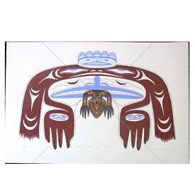 アート シルクスクリーン 画 カナダ 先住民 ネイティブ インディアン 限定エディション 136/150 [ RAVEN AND FIRST MAN ]  送料無料