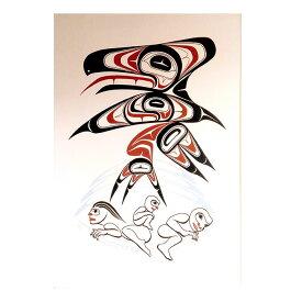 アート シルクスクリーン 画 カナダ 先住民 ネイティブ インディアン 限定エディション 133/180 [ RAVEN AND THE FIRST PEOPLE ]