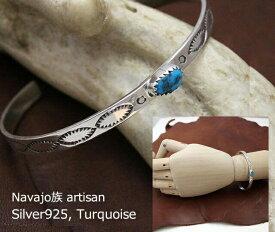 インディアン ジュエリー バングル ネイティブアメリカン シルバー 925 NAVAJO ナバホ族 スタンプ ターコイズ ブレスレット
