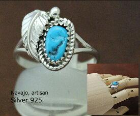 インディアン ジュエリー 指輪 リング ネイティブ アメリカン NAVAJO ナバホ族 シルバー 925 リーフ ターコイズ リング