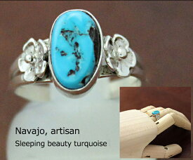 インディアン ジュエリー 指輪 ネイティブ アメリカン NAVAJO ナバホ族 フラワーデザイン ターコイズ リング 10.5号 / 11号