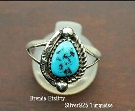 インディアン ジュエリー 指輪 リング ネイティブ アメリカン NAVAJO ナバホ族 Brenda Etsitty シルバー 925 SB ターコイズ リング