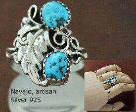 インディアン ジュエリー 指輪 リング ネイティブアメリカン シルバー 925 NAVAJO ナバホ族 キャストリーフ ダブルターコイズ