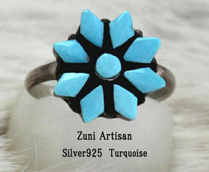 インディアン ジュエリー 指輪 リング ネイティブ アメリカン ZUNI ズニ族R シルバー 925 フラワー ターコイズ リング 9.5号/11号/14号