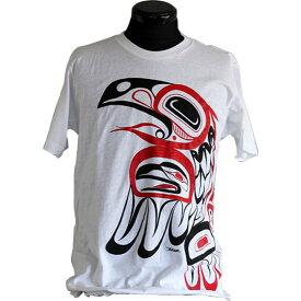 Tシャツ ユニセックス 男女兼用 カナダ 先住民 ネイティブ インディアン アート デザイン RAVEN 白
