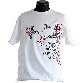 Tシャツ ユニセックス 男女兼用 カナダ 先住民 ネイティブ インディアン アート デザイン HUMMINGBIRD 白