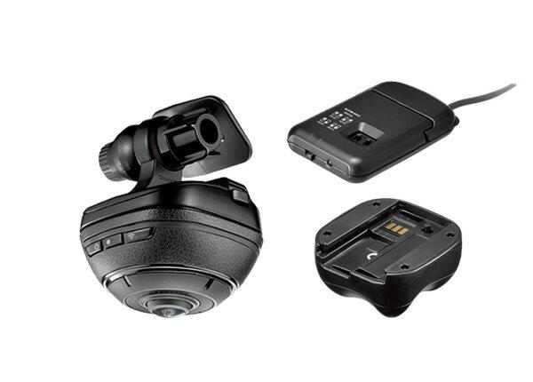 CARMATE 360°ドライブレコーダーDC3000 d'Action 360 (ダクション 360)+駐車監視用ユニットDC200+外付バッテリーDC100セット
