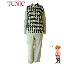在庫セール♪【送料無料】【TUNIC】チュニック 長袖・パジャマ #49833 ジャガードパイル・アーガイルモノトーン 日本製