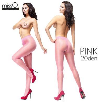 【MISS_O】ミス・オー★シャイニーオープンクロッチパンスト20デニールストッキングMOP101PINK◆ピンク