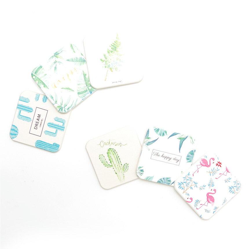 【メール便/送料無料】珪藻土コースター キッチン 水切り 吸水 速乾 おしゃれ かわいい デザイン ボタニカル サボテン 柄 四角形 正方形