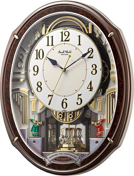 30%off からくり時計 壁掛け スモールワールド アルディ 4MN545RH23 リズム時計 掛け時計 壁掛け時計 報時 電波時計 名入れ