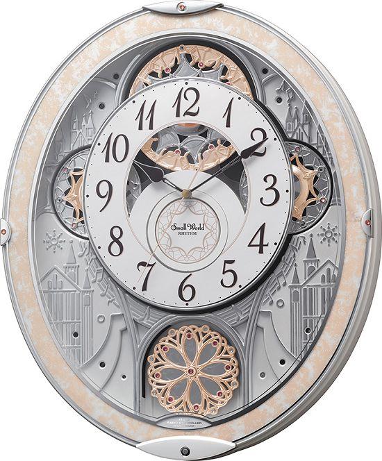 30%off からくり時計 電波時計 スモールワールド ノエルNS 8MN407RH03 リズム時計 掛け時計 壁掛け時計 お洒落 名入れ 送料無料