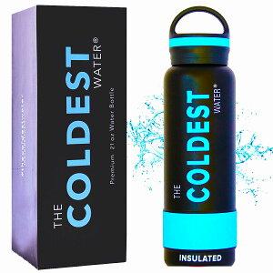 ザ・コールディスト ウォーター (The Coldest Water) [ フロリダ発 全米大ヒット 36時間 氷が溶けないスポーツボトル ] 保温12時間 真空断熱水筒 青 ブルー キャップ式 21オンス 約620ml