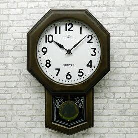 八角形 アンティーク ブラック 電波 振り子時計 ボンボン 壁掛け 日本製 木製 おしゃれ ギフト レトロ インテリ さんてる