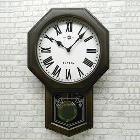 八角形 アンティーク ブラック 電波 振り子時計 壁掛け 日本製 木製 おしゃれ ギフト レトロ インテリア ボンボン さんてる