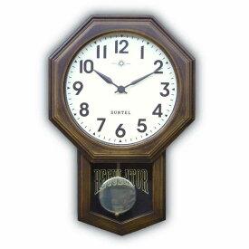 八角形 アンティーク 電波 振り子時計 壁掛け 日本製 木製 おしゃれ ギフト レトロ インテリア さんてる アラビア文字