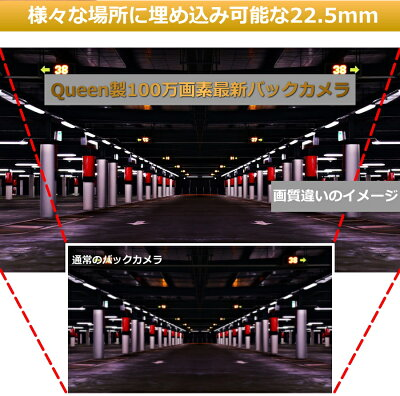 JSEED.inc360°回転埋め込み式バックカメラCCD搭載高画質駐車用カメラガイドラインあり映像ケーブル約6メートル