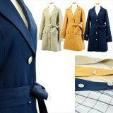 英国調ムード漂う、ウィンドウペンチェック・リバーシブル素材テーラー衿スプリングコート
