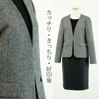 ●●U.K.-like mood fragrant cross-woven lattice pattern thin tweed ● wool cotton ● no-collar V neck jacket ●● white X black (gray) system