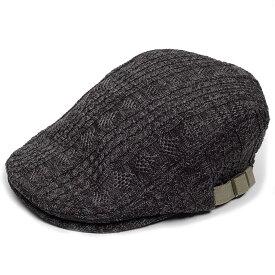 ハンチング帽 ポリケーブル ニット メンズ 秋 冬 灰色 グレー ハンチング キャップ 帽子 Flat cap サイズ 58cm 調整可能