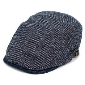 ハンチング帽子 メンズ レディース 千鳥柄 ハウンドトゥース ネイビー 紺色 ツイード 毛織 キャップ 帽子 58.5cm 調整可 サイドスナップ・ベルト付き RUBEN