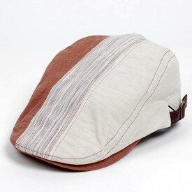 ハンチング メンズ レディース 3枚 はぎ ランダム 切替 オレンジ ベージュ色 帽子 58cm サイド調整スナップベルト付き ORANGE BEIGE