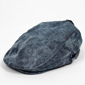 ハンチング メンズ レディース ブラック 黒 タイダイ染 デニム風 キャップ 帽子 58cm サイドスナップ・調整ベルト付き