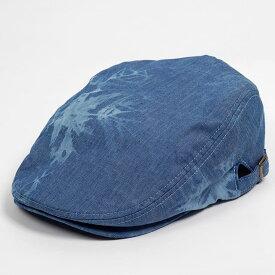 ハンチング メンズ レディース サックスブルー タイダイ染 デニム風 キャップ 帽子 58cm サイドスナップ・調整ベルト付き