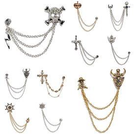 ラペルピン ピンブローチ ラペルチェーン メンズ レディース アクセサリー 飾り シルバー&ゴールド マリーン、クラウン、十字架、星、スカル、バイキング、劔モチーフの15種