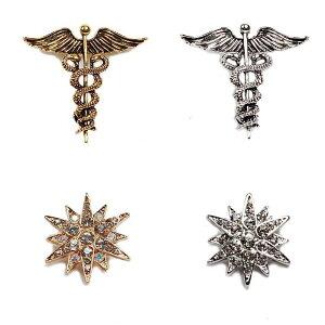 ラペルピン ブローチ ピンバッジ メンズ レディース アクセサリー 飾り 星、カドゥケウスの翼や蛇紋章モチーフ シルバー ゴールド色