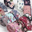 ナロータイ 花柄 ネクタイ スリム メンズ レディース スキニー フローラル コットンタイ 綿素材 マットな質感 15種 花…