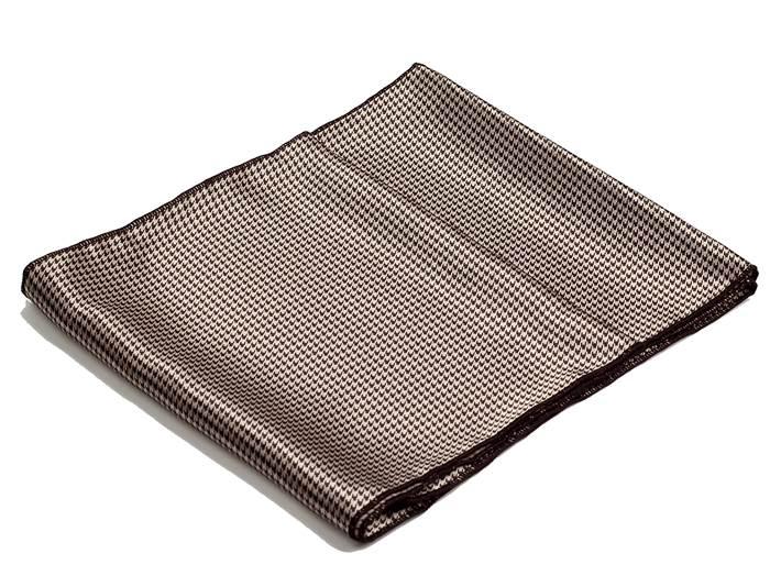 ストール ハウンドトゥース柄 千鳥格子 ゴールドブラウン NTF07 細長スカーフ シルクタッチストール ロングスカーフ ネックスカーフ