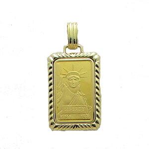 【代引き手数料、送料無料】人類の永遠の象徴を純金でレリーフした傑作 信頼のクレジットスイスの自由の女神10gペンダント
